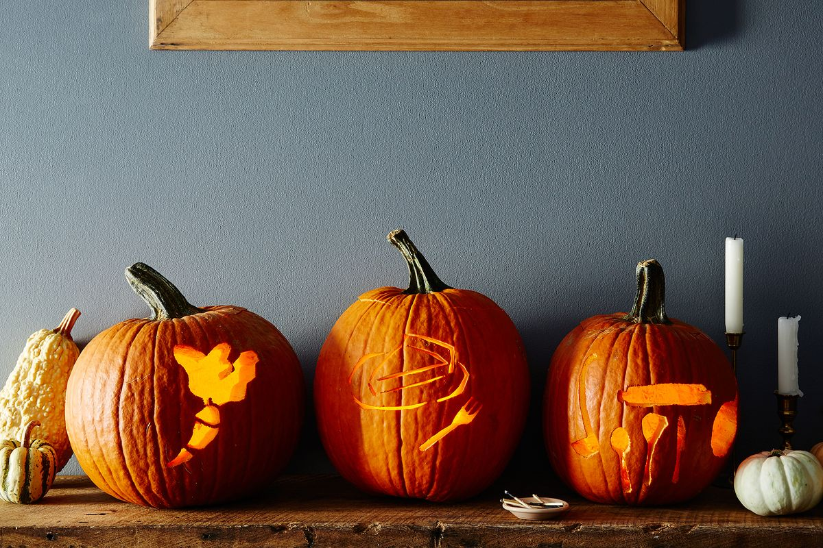 Downloadable food themed stencils for pumpkin carving
