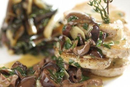 Pork Scallops over a warm Mushroom Sauce