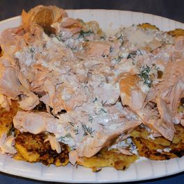 Poached Salmon in Light Basil Sauce over Butternut Squash Latkes