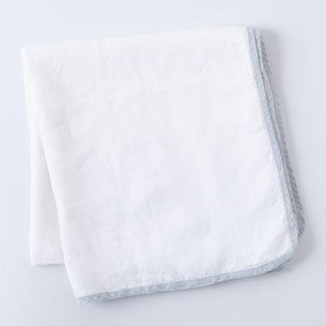 Fog Blue-Edged Linen Tablecloth