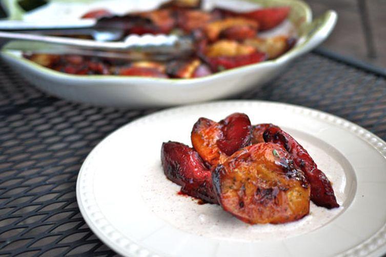 Grilled Honey Basil Peaches