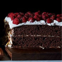 Dark Chocolate Raspberry Sheet Cake Layer Cake