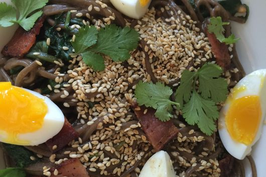 Peanut Sesame Soba with Bacon, Egg and Tiny Greens
