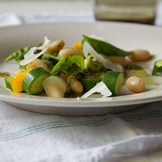 Baby Zucchini Salad with Yellow Bell Pepper, Green Onions and Basil