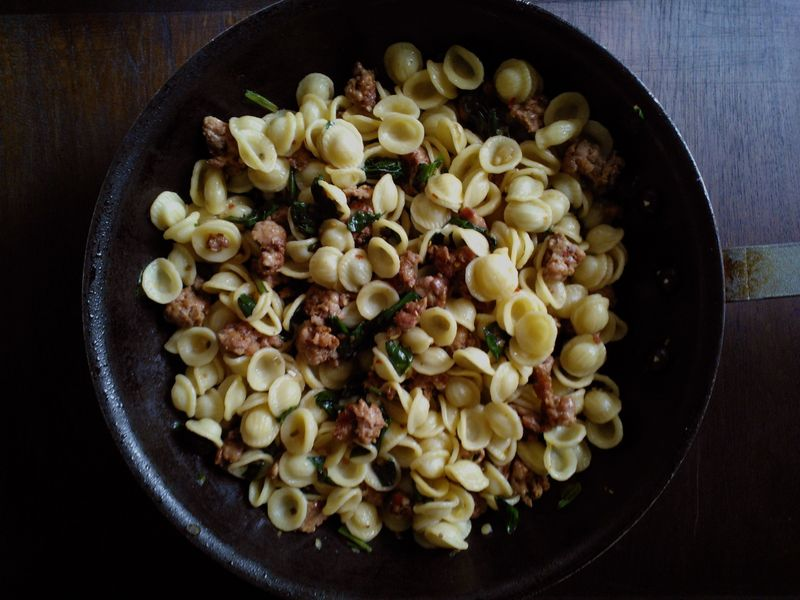 Orecchiette with Spicy Sausage and Ramps by Merrill Stubbs