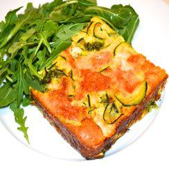 Broccoli, Zucchini and Red onion  Crustless Quiche