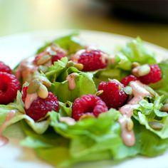 Raspberry Miso Dressing on a Summer Salad