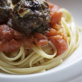 Buffalo, Mushroom & Feta Meatballs with San Marzano tomato sauce