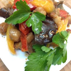Roasted Mediterranean Vegetables with Chickpeas