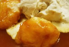 Golden Dumplings with Whipped Coconut Cream