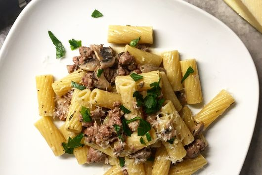 Rigatoni with Sausage, Mushroom and Marsala Cream Sauce