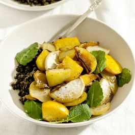 Spicy Maple Roasted Root Vegetables with Black Lentils