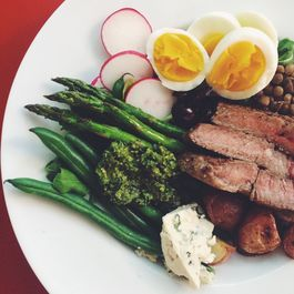 Power Salad with Green Lentils, Spring Vegetables, Steak, and a Hard Boiled Egg