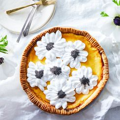 Lemon Mascarpone Pie With Meringue Anemones
