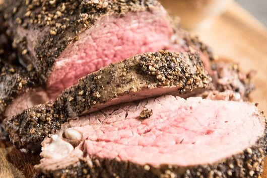 Peppercorn Beef Tenderloin with a Roasted Garlic Cream Sauce
