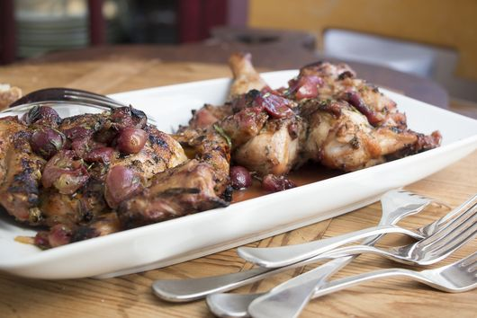 Grilled Cornish Game Hens with Grape-Verjus Sauce