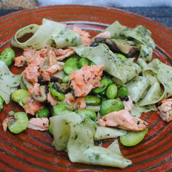 Pappardelle with Fava Bean Leaf Pesto , Fava Beans, Salmon and Shiitake Mushroom