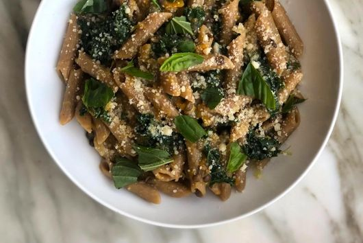One-Pan Squash, Caper, and Kale Pasta