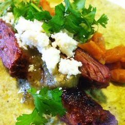 Skirt Steak Tacos with Tomatillo Salsa