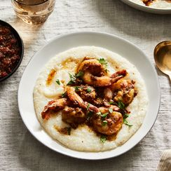 Shrimp with Coconut Milk Grits & XO Sauce