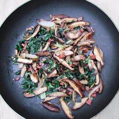 Mushroom Saute with Greens, Pancetta, and Wild Mushroom-infused Olive Oil