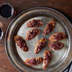 Crostini with Duck Confit and Red Onion Jam