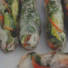 Rice Paper Rolls with Avocado, Salad & Mint