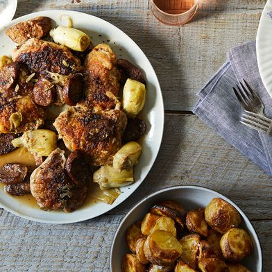 Chicken with Sausage, White Wine and Artichokes