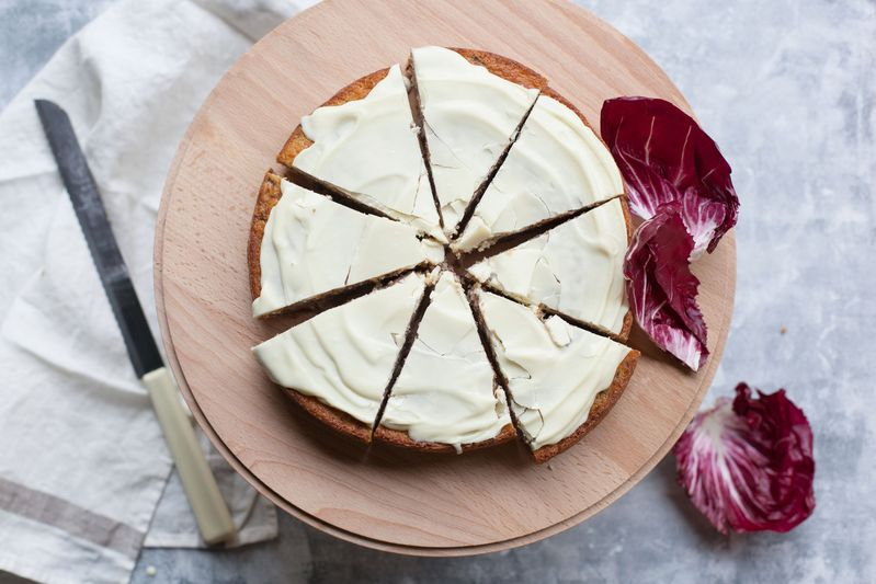 Tessa Kiros' Radicchio cake with white chocolate glaze