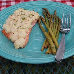 Baked Salmon with Duchess Potatoes