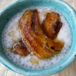 Coconut tapioca pudding with cardamom and caramelized bananas