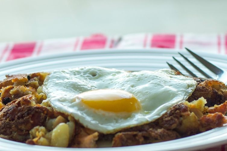 Potato, Onion, and Nova Hash with Eggs