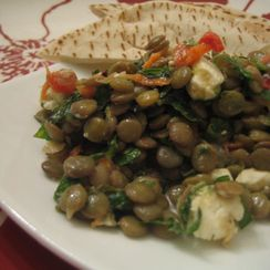 Lentil Salad with Feta, roasted red peppers and herbs