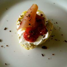 Crostini with Mascarpone, Prosciutto and Strawberry Jam