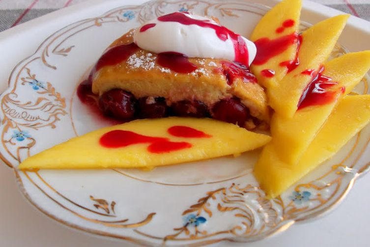 Cherry Clafouti Baked in Mango-Coconut Custardy Batter