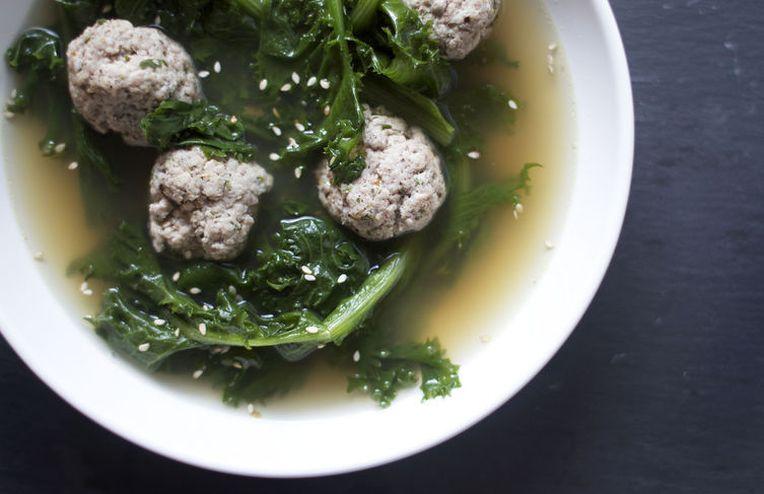 Za'atar Meatballs and Endive in Lemony Broth