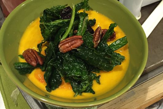 Bleeding Heart Pumpkin Stew with Wilted Winter Greens and Cranberry's