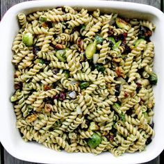 Pistou Rotini with Roasted Brussel Sprouts, Walnuts and Cranberries