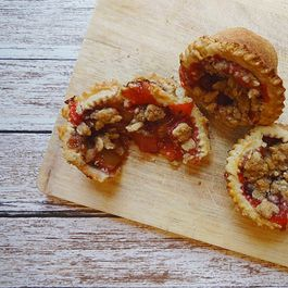 Lavender Thyme Strawberry Rhubarb Mini Pies with Almond Crumble and Fennel Crust