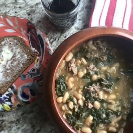 Spicy Sausage, Kale, and White Bean Soup