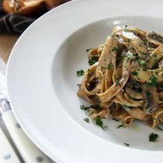 Homemade Porcini Fettuccini with Creamy Wild Mushroom Sauce