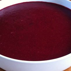 semolina with red fruit topping