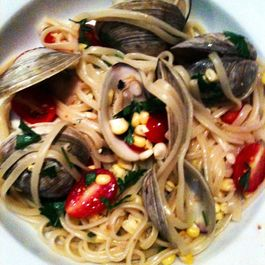 Pasta Clam Bake: Linguine with Clams, Tomatoes and Corn