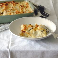 Chicken and mushrooms white lasagna
