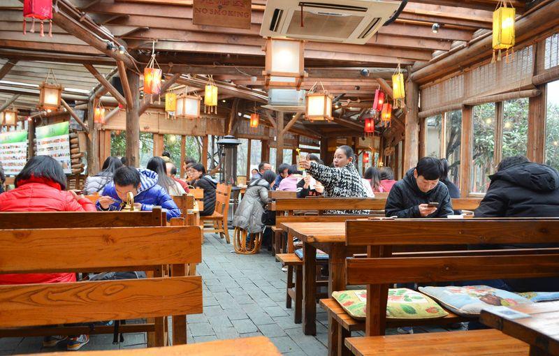 Inside a chain restaurant called Green Tea
