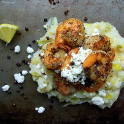 Black Pepper Shrimp with Leek and Lemon Grits