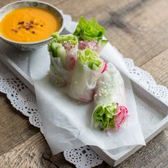 Summer Salad Rolls with a Carrot Ginger Dip