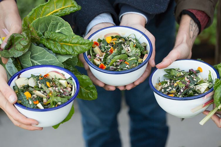 Fall Greens with Apple, Fennel Flower, and Tahini