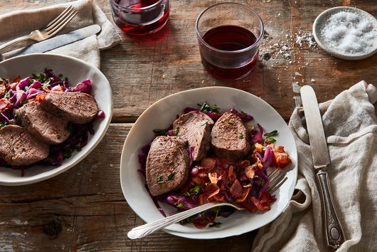 Juicy Pork Tenderloin With Cider-Glazed Cabbage