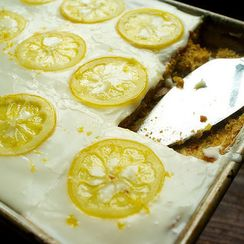 Candied Lemon Sheet Cake (+ 5 Tips for Taking it With You)